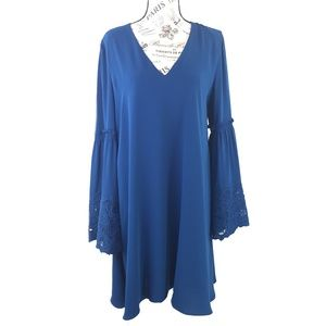 Laundry by Shelli Segal Blue Lace Sleeve Dress 12